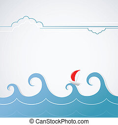 Open sea yacht - A yacht with stormy waves. Simple graphic ...