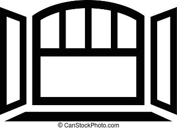 Open semicircular window frame icon, simple black style -...