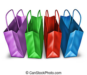 Open Shopping Bags Top View - Shopping bags in a group with...