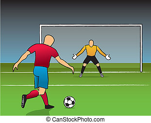 Open Shot On Goal - Soccer player getting ready to shoot on...