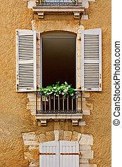 Open Shutter - French Window with Open Wooden Shutter
