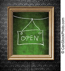 Open sign chalkboard in old wooden frame