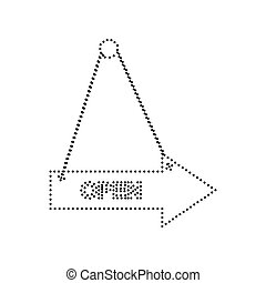 Open sign illustration. Vector. Black dotted icon on white background. Isolated.