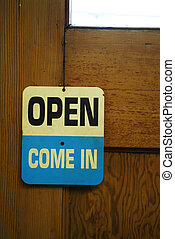 open sign on door