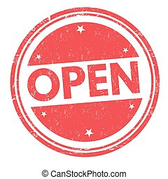 Open sign or stamp