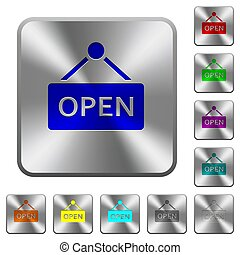Open sign rounded square steel buttons
