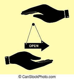 Save or protect symbol by hands. - Open sign. Save or...