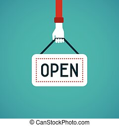 Open sign vector concept in flat style