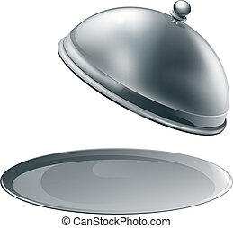 Open silver platter - An open empty metal silver platter or...