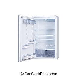 open single door fridge isolated on white