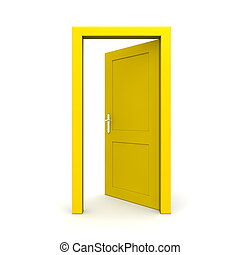 Open Single Yellow Door - single yellow door open - door...