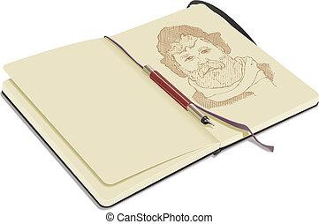 Open Sketchbook with Pen - An open sketchbook, on white...