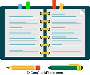 Open sketchpad with color tabs vector icon flat isolated