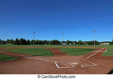 Open Sky Baseball Field - A wide angle shot of a baseball...