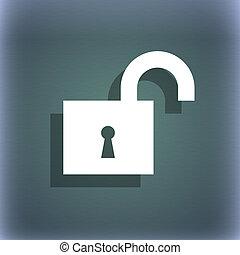 open, slot, pictogram, symbool, op, de, blauwe-groen, abstract, achtergrond, met, schaduw, en, ruimte, voor, jouw, text.