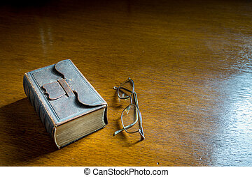 Songbook-Bible with Reading Glasses - Open Songbook-Bible...