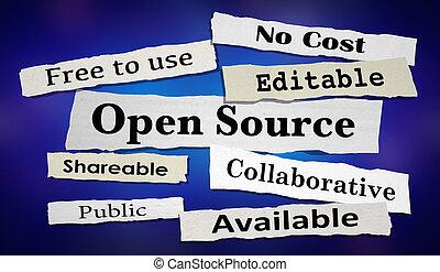 Open Source Software Newspaper Headlines 3d Illustration