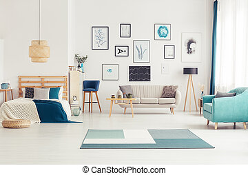 Open space bedroom - Open space blue bedroom interior with...