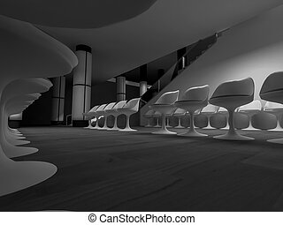 open space, clean room with shapes in 3d, business space and work