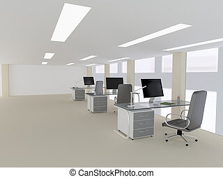 OPEN SPACE concept - 3d illustration of open space workplace...