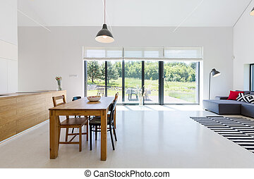 Open space with dining area