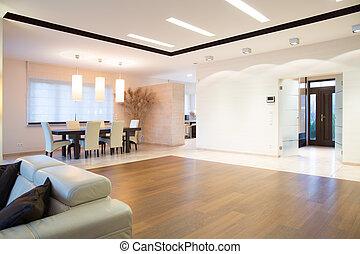 Open space with oak parquet