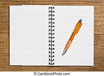 Open spiral notebook with