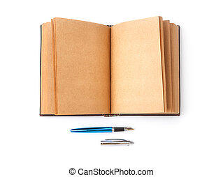 Open spread old book with blank page