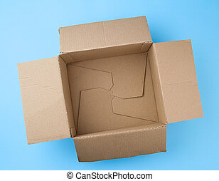 open square empty cardboard brown box for packing and shipping things