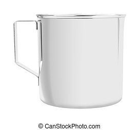 Open stainless cup with handle on white background.
