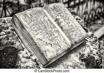 Open stone book