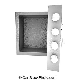 Open strongbox isolated over white