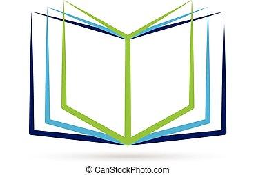 Open stylized book logo - Open stylized book with blank...