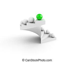 open., success., concept., liderazgo, verde, escaleras