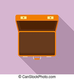 Open suitcase icon, flat style