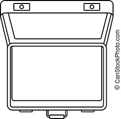 Open suitcase icon, outline style