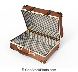 Open suitcase. Opened suitcase is isolated on a white ...