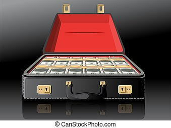 Open suitcase with dollars - Open classic leather briefcase...