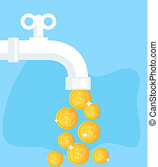 Open tap with flow of golden coins dollars. Financial success concept. Vector flat cartoon isolated graphic design illustration