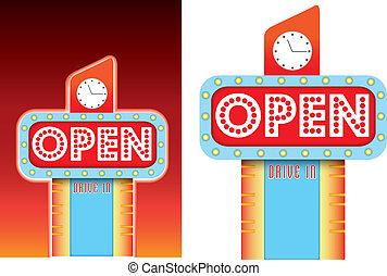 open teken, voor, kant van de weg, retro, ouderwetse , diner, stijl, reclame