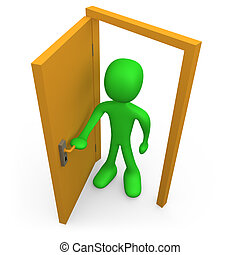 Open The Door - 3d person in front of an open door.