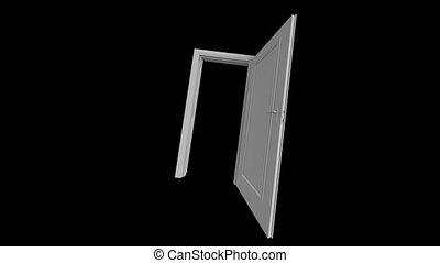 Open the door. An open door in the dark. Door with alpha channel 60