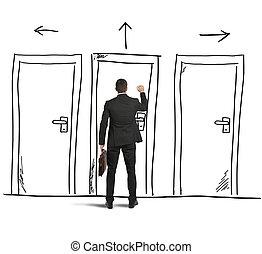 Open the door - Businessman opens a door designed in a wall