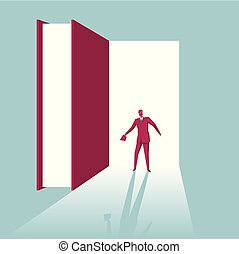 Open the door to knowledge. Isolated on blue background.