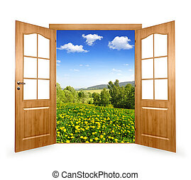 Open the door to the spring landscape
