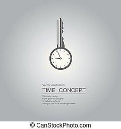 Open the key to time. Isolated on blue background.