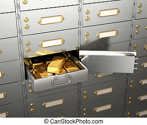Open the safe with gold bars. 3d illustration