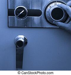 steel safe - open the steel safe, finger turn it of a man.