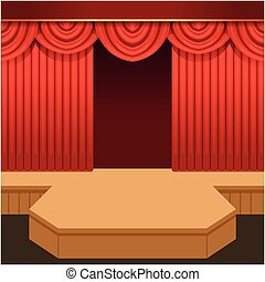 Open theater scene with red curtain and fashion podium. ...
