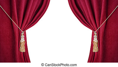 Open theatrical red blind isolated on white background.